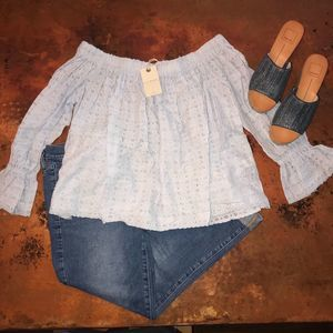 NWT Lucky Brand Blue Off the Shoulder Eyelet Top